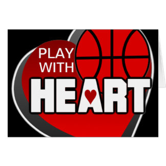Play With Heart Basketball Greetings Card