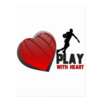 Play With Heart Basketball Postcard