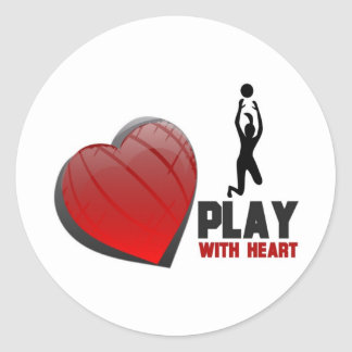 PLAY WITH HEART VOLLEYBALL CLASSIC ROUND STICKER