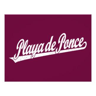 Playa de Ponce script logo in white distressed 21.5 Cm X 28 Cm Flyer