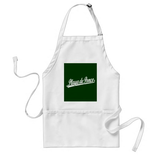 Playa de Ponce script logo in white distressed Aprons