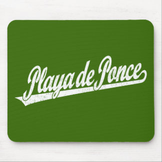Playa de Ponce script logo in white distressed Mouse Pad