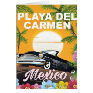 Playa del Carmen Mexican car travel poster Card