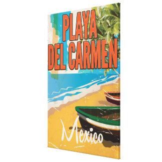 Playa del Carmen Vintage travel poster print Gallery Wrap Canvas