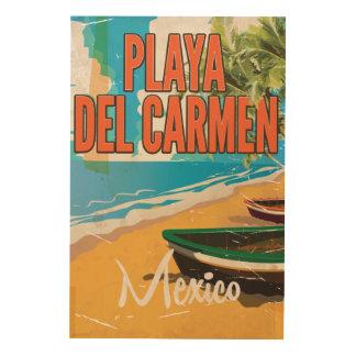 Playa del Carmen Vintage travel poster print Wood Canvas