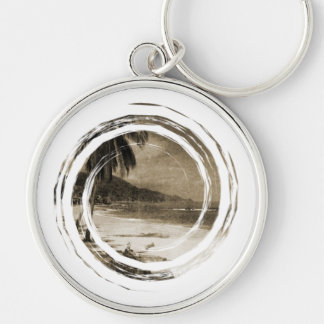 Playa Los Caballos Antique Silver-Colored Round Key Ring