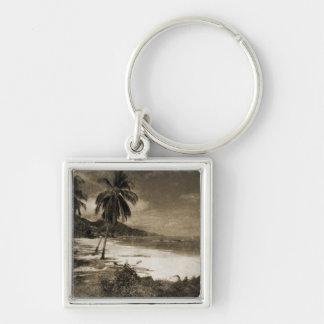 Playa Los Caballos Antique Silver-Colored Square Key Ring