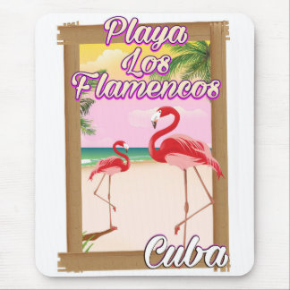 Playa Los Flamencos Cuba travel poster Mouse Mat