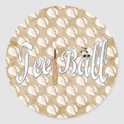 Playball Tee Ball Round Stickers