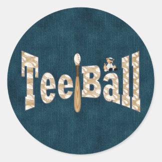 Playball Tee Ball Round Sticker