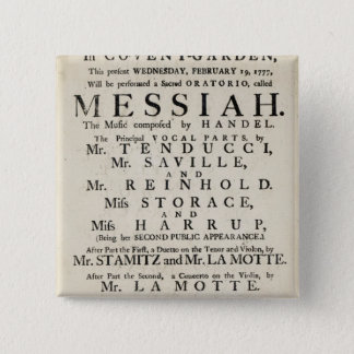 Playbill advertising a performance 15 cm square badge