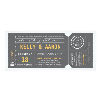 Playbill Theater Ticket Wedding Invitation - Gray