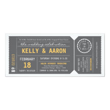 Playbill Theatre Ticket Wedding Invitation - Grey