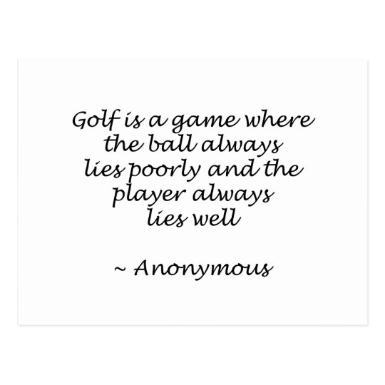 Player Lies Well Golf Design Postcard
