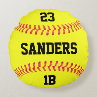 Player Name, Number & Position Fastpitch Softball Round Cushion