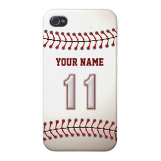 Player Number 11 - Cool Baseball Stitches iPhone 4/4S Cases