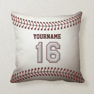 Player Number 16 - Cool Baseball Stitches Cushion