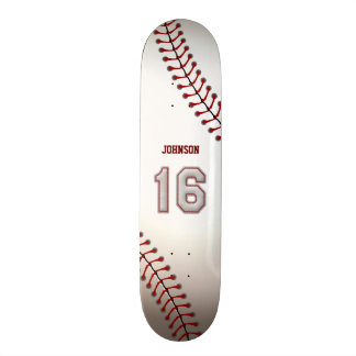 Player Number 16 - Cool Baseball Stitches Skate Board