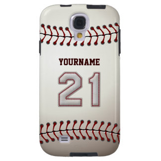 Player Number 21 - Cool Baseball Stitches Look Galaxy S4 Case