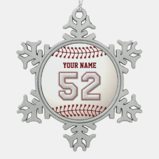Player Number 52 - Cool Baseball Stitches Snowflake Pewter Christmas Ornament