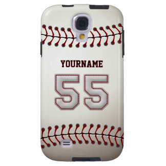 Player Number 55 - Cool Baseball Stitches Look Galaxy S4 Case