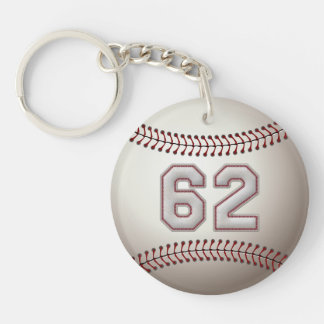 Player Number 62 - Cool Baseball Stitches Keychain