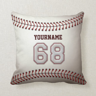 Player Number 68 - Cool Baseball Stitches Cushion