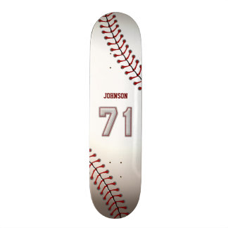 Player Number 71 - Cool Baseball Stitches Skateboard