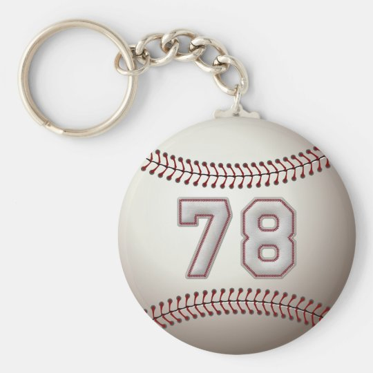 Player Number 78 - Cool Baseball Stitches Basic Round Button Key Ring