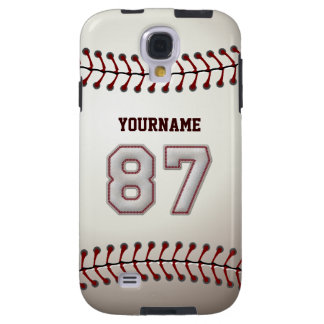 Player Number 87 - Cool Baseball Stitches Look Galaxy S4 Case
