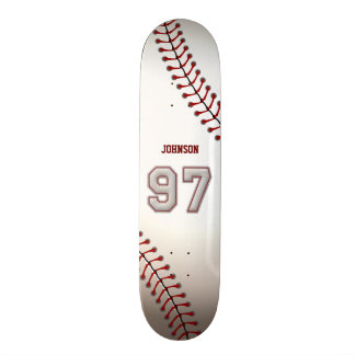 Player Number 97 - Cool Baseball Stitches Skate Board