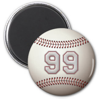 Player Number 99 - Cool Baseball Stitches Fridge Magnet