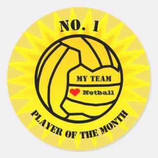 Player Of The Month Netball Reward Classic Round Sticker