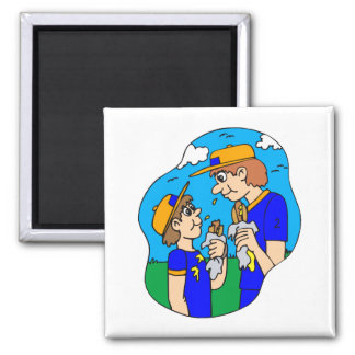 Players eating hot dogs square magnet