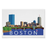 Playful and Unique Illustration Boston Skyline Poster