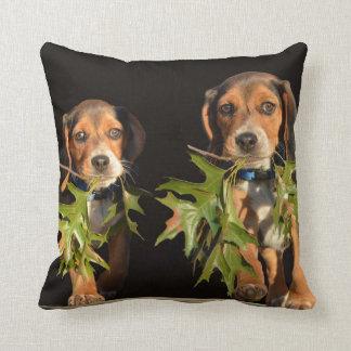 Playful Beagle Brothers Puppies Cushion