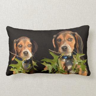 Playful Beagle Brothers Puppies Lumbar Cushion