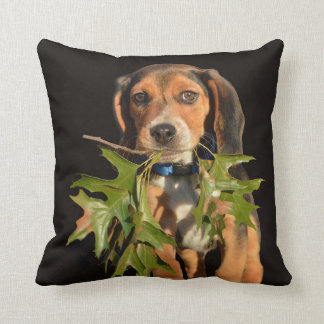 Playful Beagle Puppy With Leaves Cushion