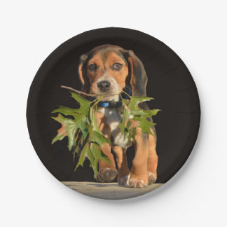 Playful Beagle Puppy With Leaves Paper Plate