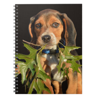Playful Beagle Puppy With Leaves Spiral Notebook