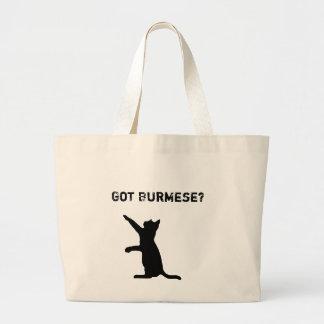 Playful Burmese Cat with 'Got Burmese?' Text Large Tote Bag