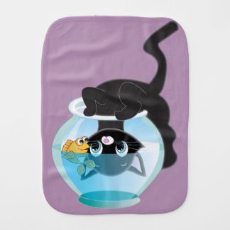 Playful Cartoon Cat and Fish Bowl Burp Cloth