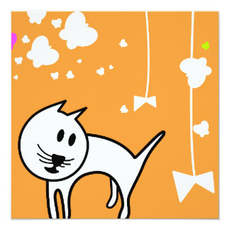 Playful Cartoon Kitten 13 Cm X 13 Cm Square Invitation Card
