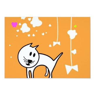 Playful Cartoon Kitten 5x7 Paper Invitation Card