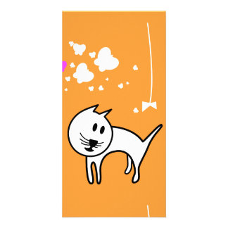 Playful Cartoon Kitten Photo Greeting Card