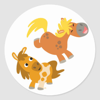 Playful Cartoon Ponies stcker Round Sticker