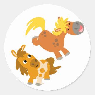 Playful Cartoon Ponies stcker Round Sticker