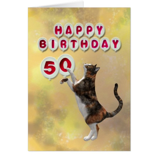 Playful cat and 50th Happy Birthday balloons Card