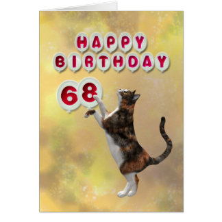 Playful cat and 68th Happy Birthday balloons Greeting Card