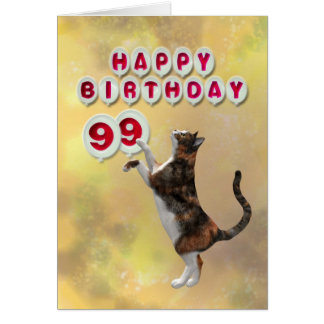 Playful cat and 99th Happy Birthday balloons Greeting Card